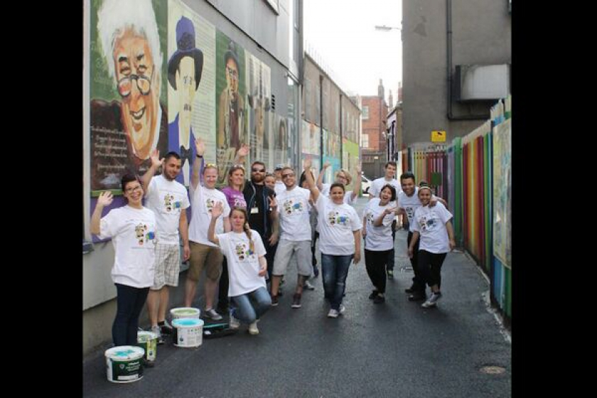 RE-PAINTING THE ICON WALK: With help from the Starbucks and Hard Rock Cafe Teams.