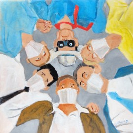 'Who IS that Masked Man..why isn't that Masked Man wearing a Mask?' by Seán Lennon Acrylics on canvas