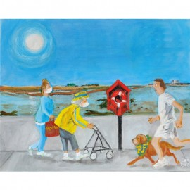 'Ann and Joan in Baldoyle..Ru n me on Dollymount the best little beach that we ever fount!!' Seán Lennon Acrylics on canvas