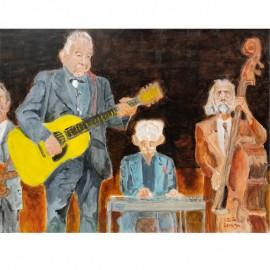 'John Prine and band' by Seán Lennon Acrylics on canvas